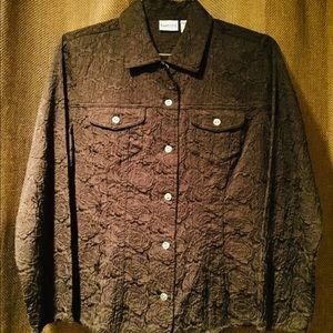 Chico's Brown Lined Button Up Floral Jacket Sz 1
